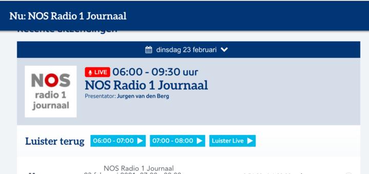 Kameraden op NOS Radio 1 Journaal